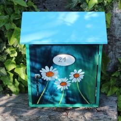 Malovaná poštovní schránka modrá - kopretiny