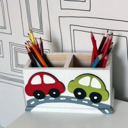 Maxi dřevěný stojánek na pastelky - dálnice
