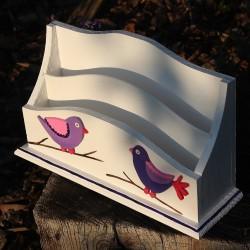 Dřevěný organizér na stůl - ptáčci lila