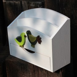 Dřevěný organizér na stůl se šuplíkem - ptáčci
