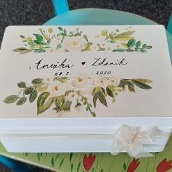 Dřevěná SVATEBNÍ krabička na přání a dary - Kalcit