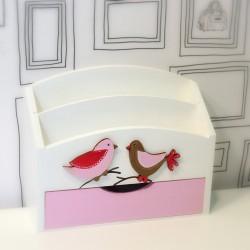 Dřevěný organizér na stůl se šuplíkem - ptáčci růžoví