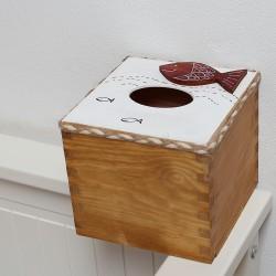 Dřevěný box na kapesníky krychle RYBA