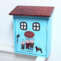 Dřevěná poštovní schránka - azzuro RODINA