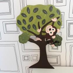 Dekorace na zeď legrační Opice na stromě