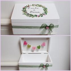 Dřevěná SVATEBNÍ krabice na přání a peníze přírodní