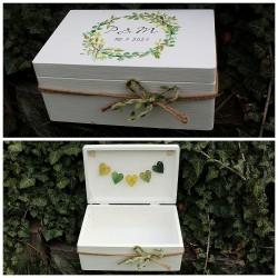 SVATEBNÍ krabice na přání a peníze zelené lístky
