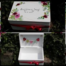 Dřevěná SVATEBNÍ krabička na přání a dary Magnolia