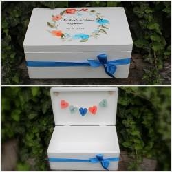 Dřevěná SVATEBNÍ krabička na přání a dary AKVAREL modrý
