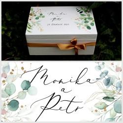 Dřevěná SVATEBNÍ krabička na vzpomínky botanicus