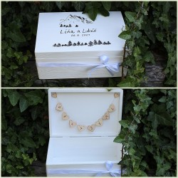 Dřevěná SVATEBNÍ krabička na přání a dary HORY