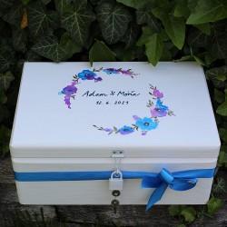 Dřevěná SVATEBNÍ krabička na vzpomínky chrpa