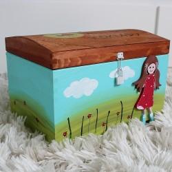 STYLOVÁ maxi dřevěná truhla modré z nebe