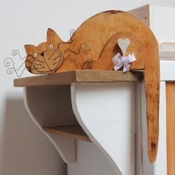 Dřevěná dekorace KOČKA přírodní