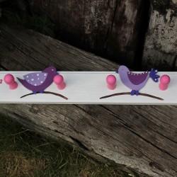 Dřevěné věšáčky PTÁČCI lila