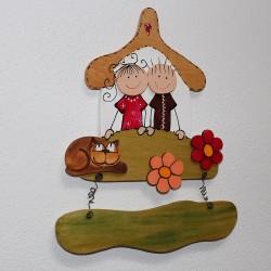 Dřevěná cedulka na dveře ŠŤASTNÁ RODINKA a mourek
